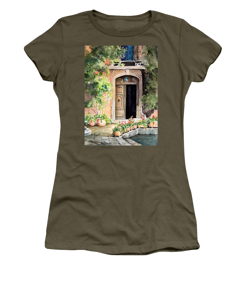 Door Women's T-Shirt (Athletic Fit) featuring the painting The Open Door by Sam Sidders