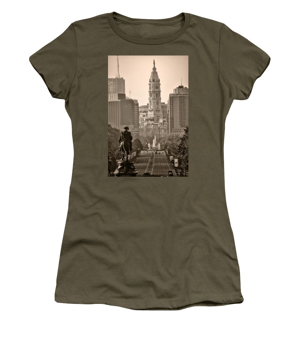 Benjamin Franklin Parkway Women's T-Shirt featuring the photograph The Parkway In Sepia by Bill Cannon