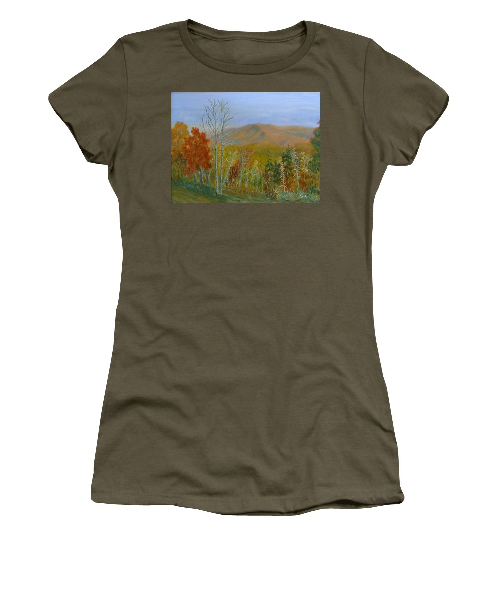 Mountains; Trees; Fall Colors Women's T-Shirt (Athletic Fit) featuring the painting The Parkway View by Ben Kiger
