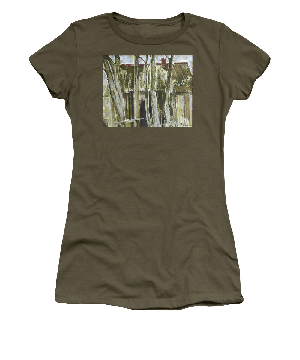 Oil Women's T-Shirt (Athletic Fit) featuring the painting The Past Space by Sergey Ignatenko