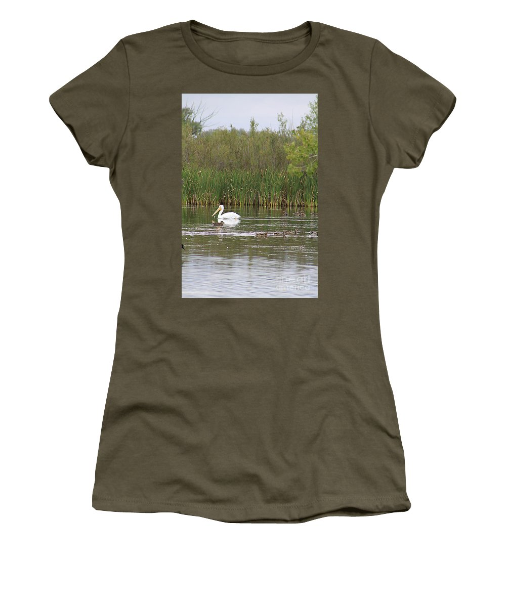 Pelican Women's T-Shirt featuring the photograph The Pelican And The Ducklings by Alyce Taylor