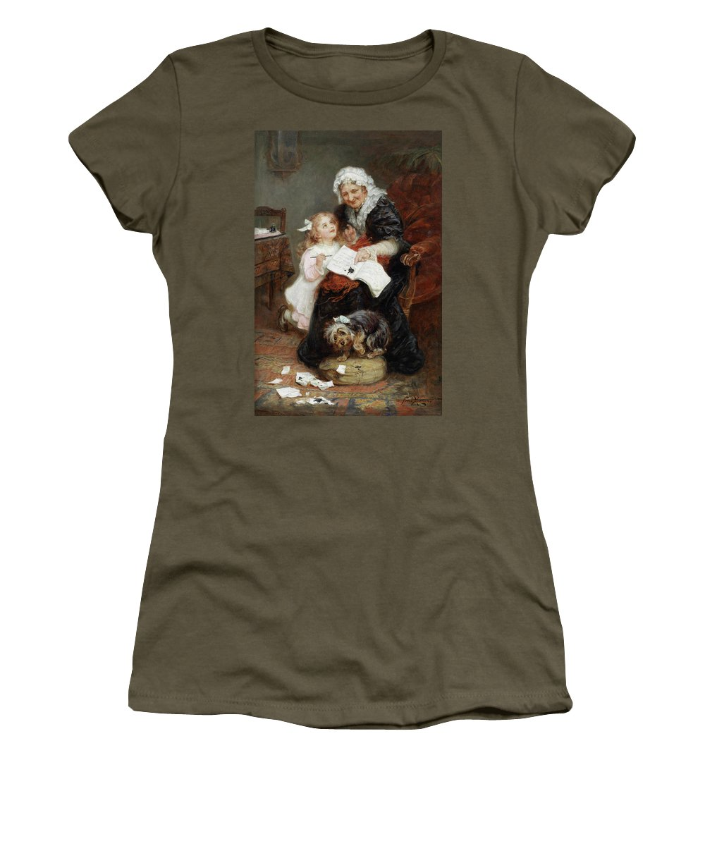 Fred Morgan Women's T-Shirt featuring the digital art The Penitent Puppy by Fred Morgan