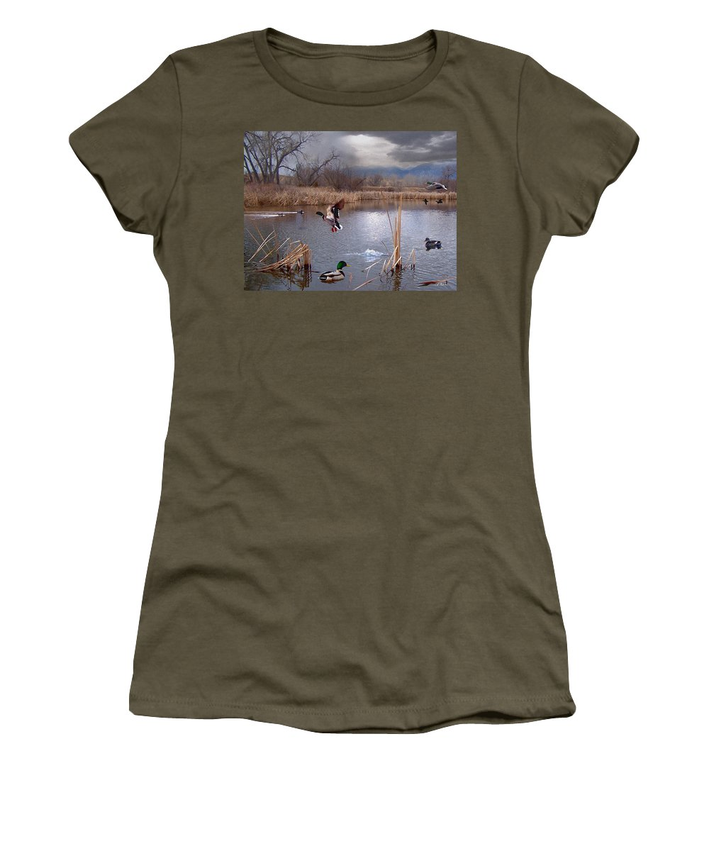 Ponds Women's T-Shirt featuring the mixed media The Pond by Bill Stephens