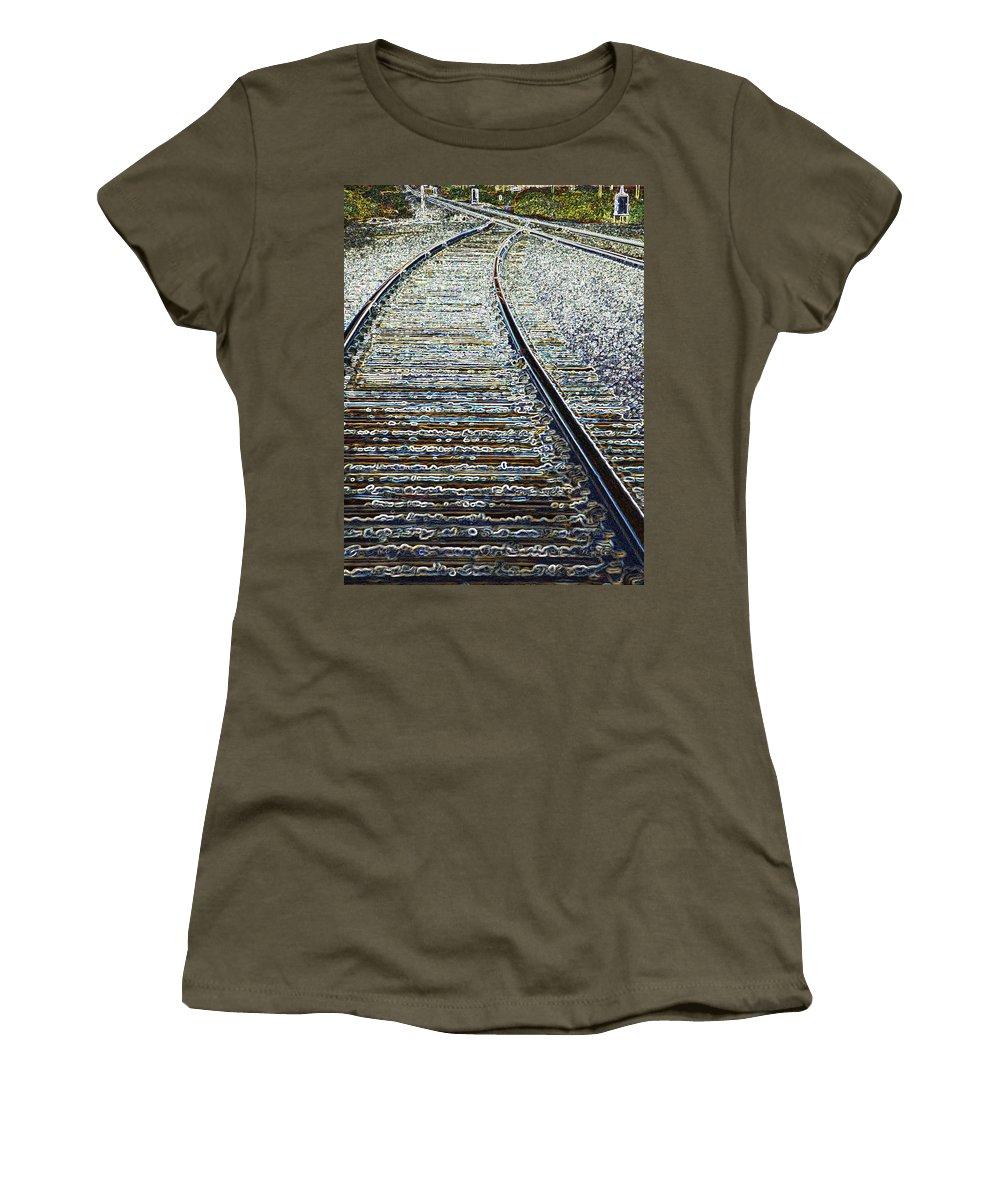 Rail Women's T-Shirt featuring the photograph The Rails Edge by Tim Allen