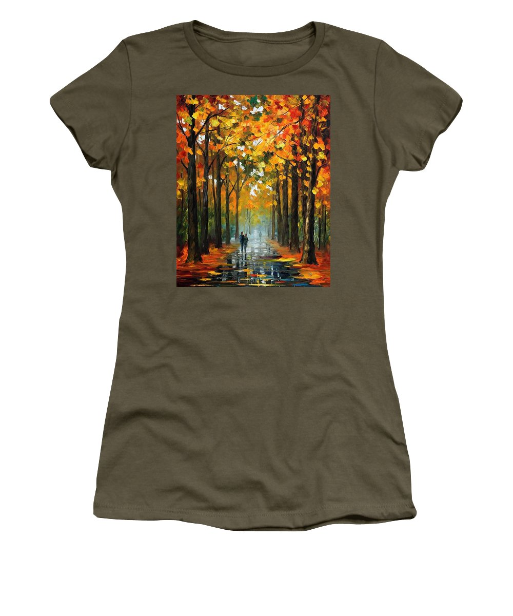 Afremov Women's T-Shirt featuring the painting The Rain Is Gone by Leonid Afremov