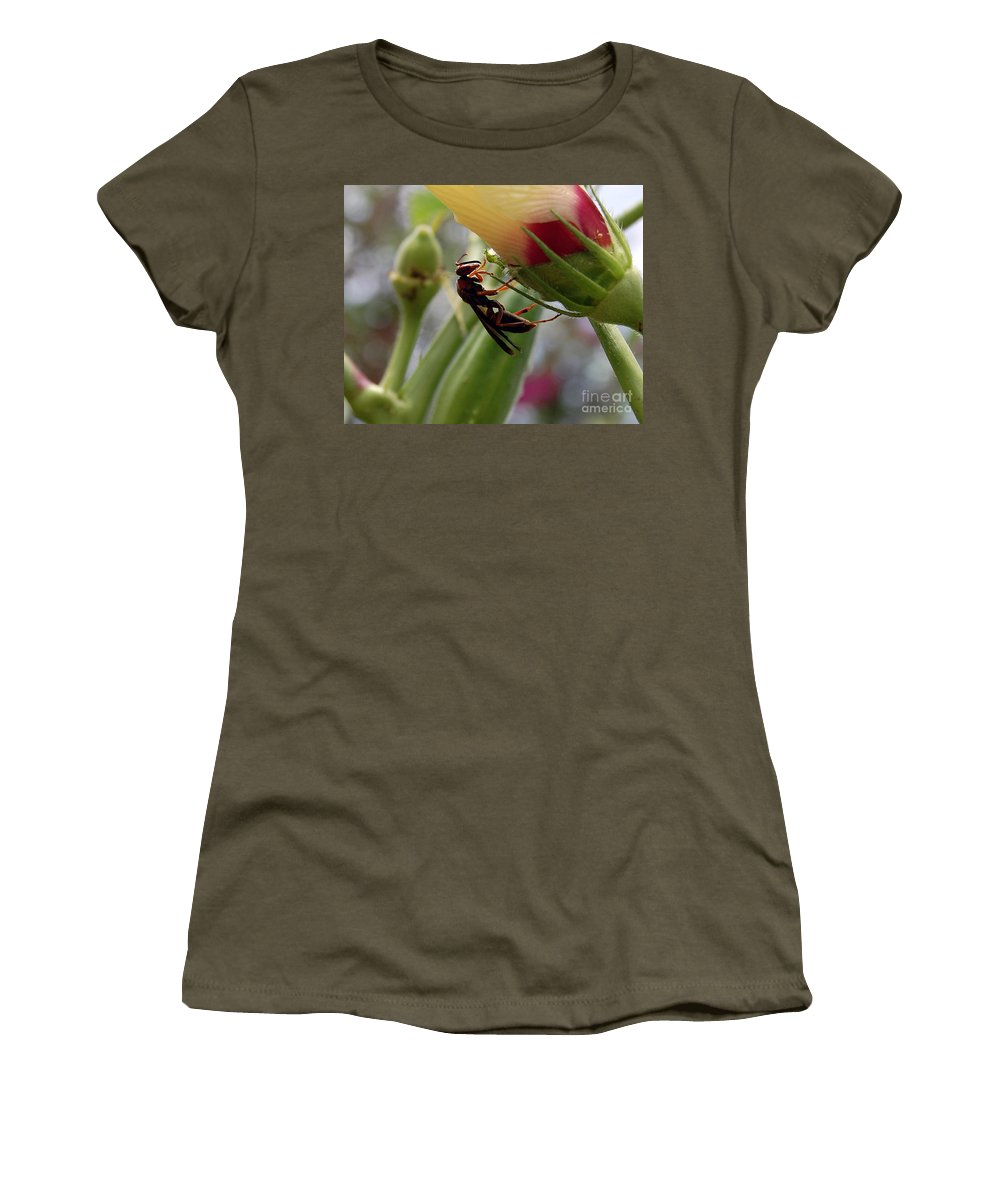 Red Wasp Women's T-Shirt featuring the photograph The Real Gardener 2 by Robert Meanor