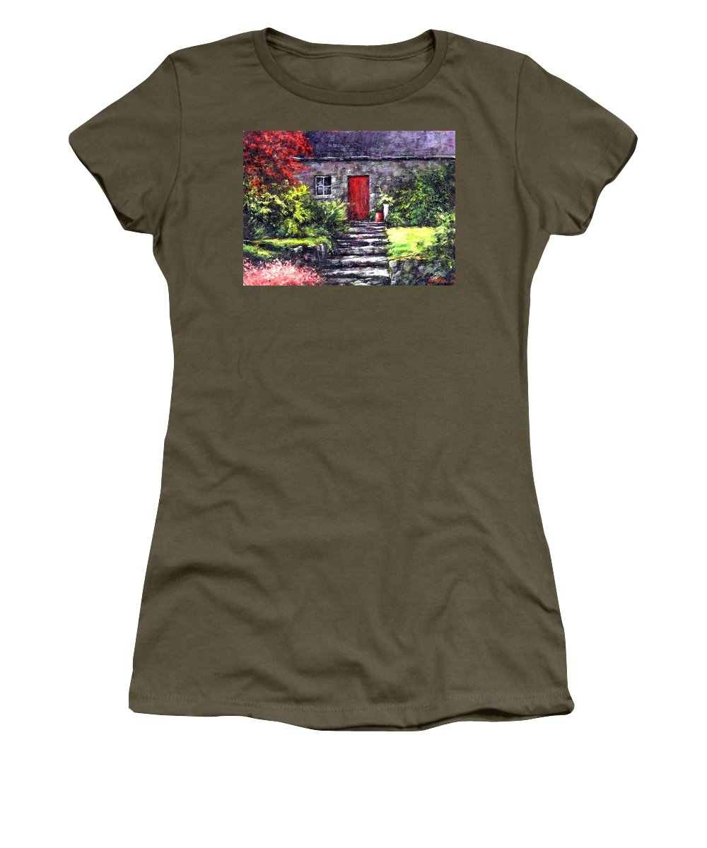 Ireland Women's T-Shirt featuring the painting The Red Door by Jim Gola