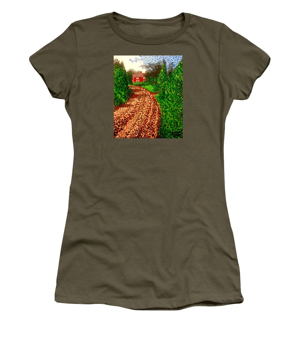 Acrylic Women's T-Shirt (Athletic Fit) featuring the painting The Red House In Finland by Alan Hogan