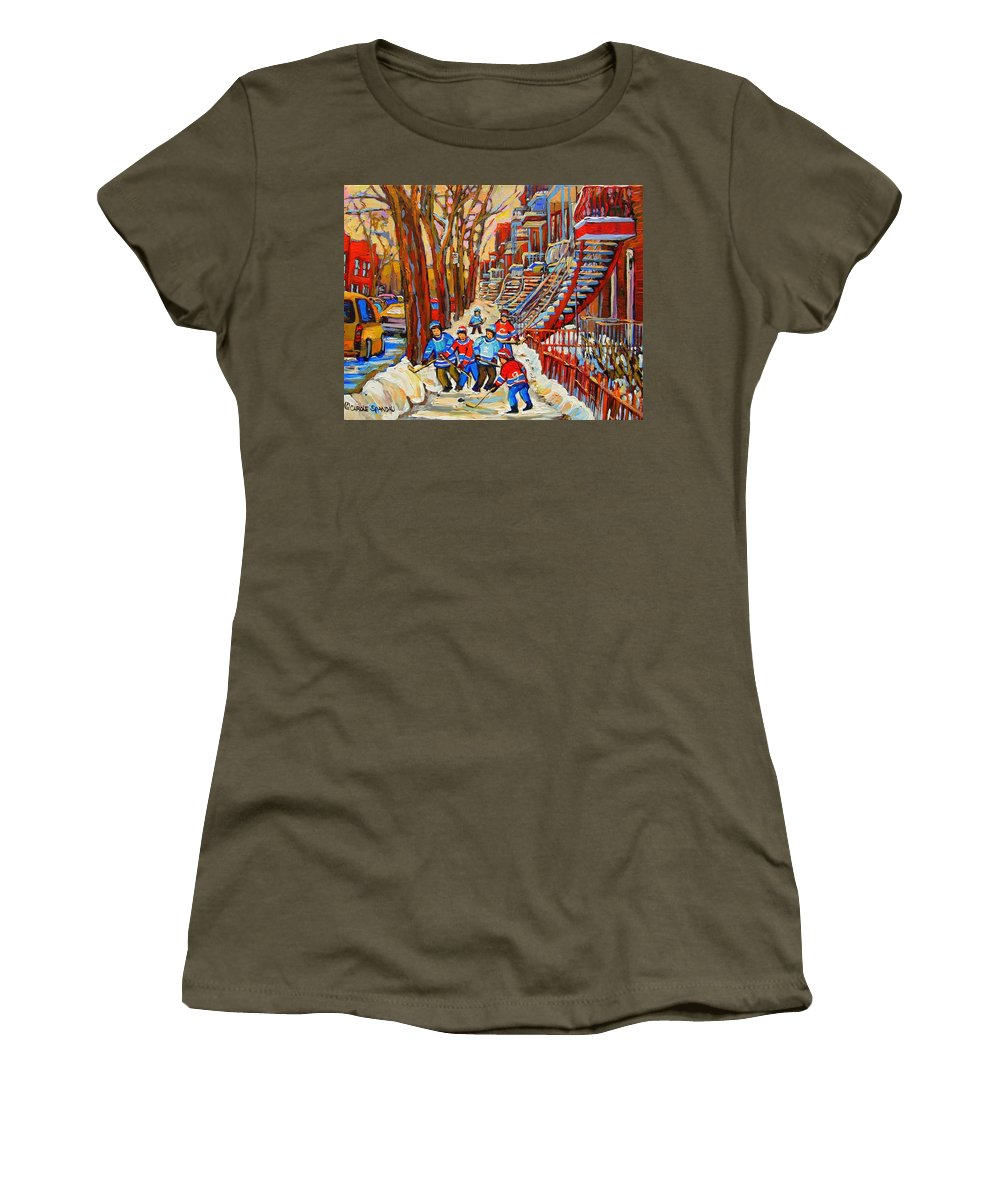 Women's T-Shirt featuring the painting The Red Staircase Painting By Montreal Streetscene Artist Carole Spandau by Carole Spandau
