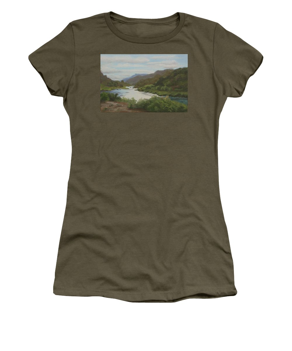 Landscape Women's T-Shirt (Athletic Fit) featuring the painting The Rio Grande Between Taos And Santa Fe by Lea Novak