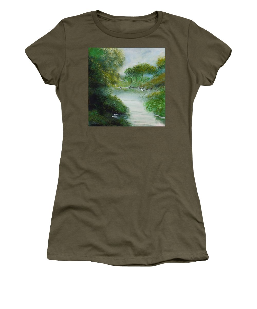 River Water Trees Clouds Leaves Nature Green Women's T-Shirt featuring the painting The River by Veronica Jackson