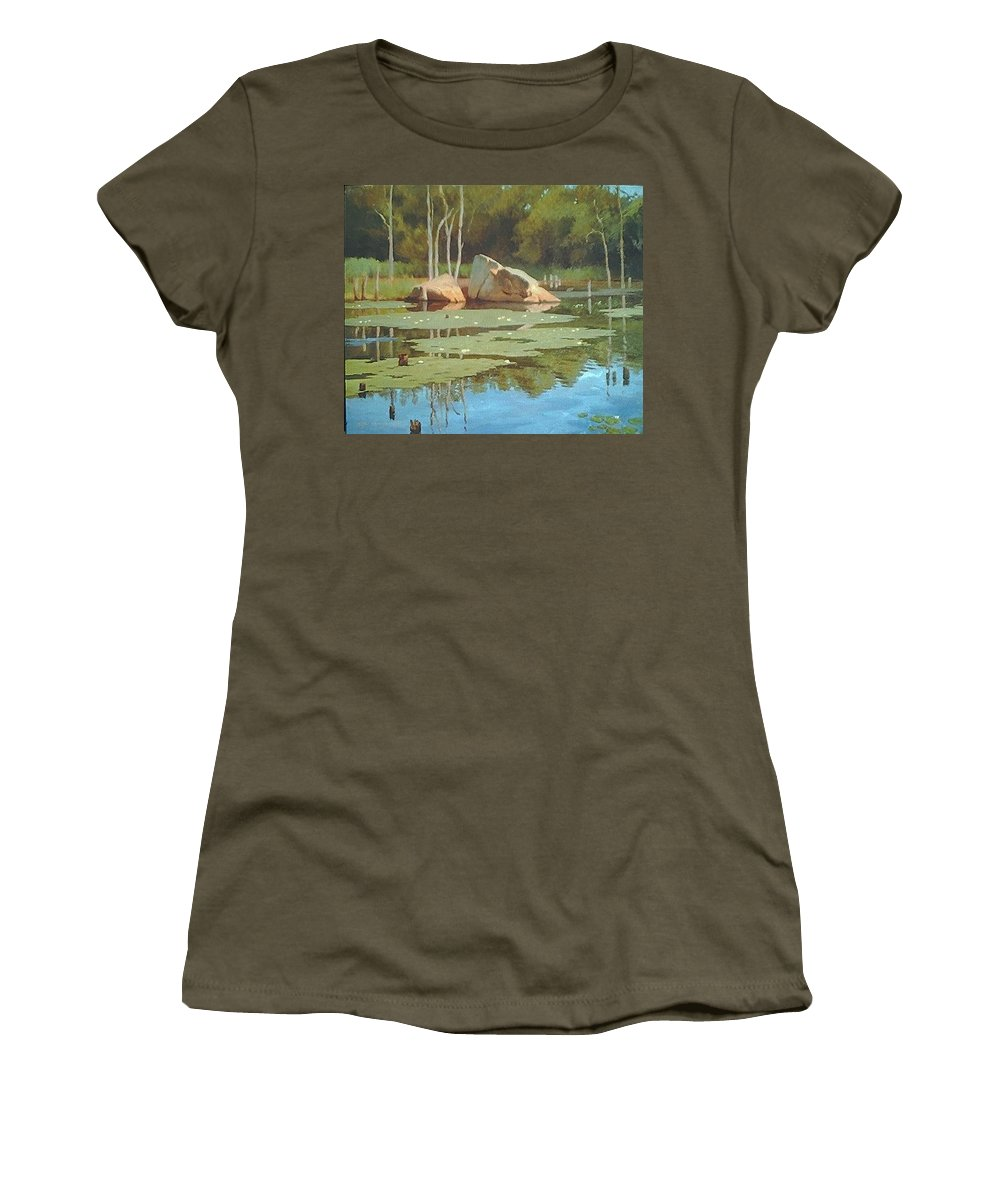 Landscape Women's T-Shirt (Athletic Fit) featuring the painting The Rock by Dianne Panarelli Miller