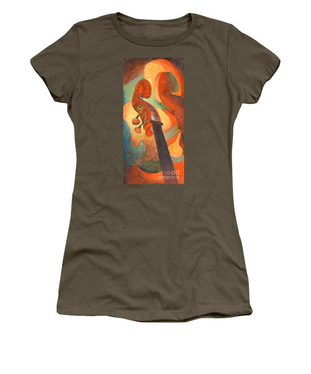 Scroll Women's T-Shirt featuring the painting The Scroll by Claire Gagnon