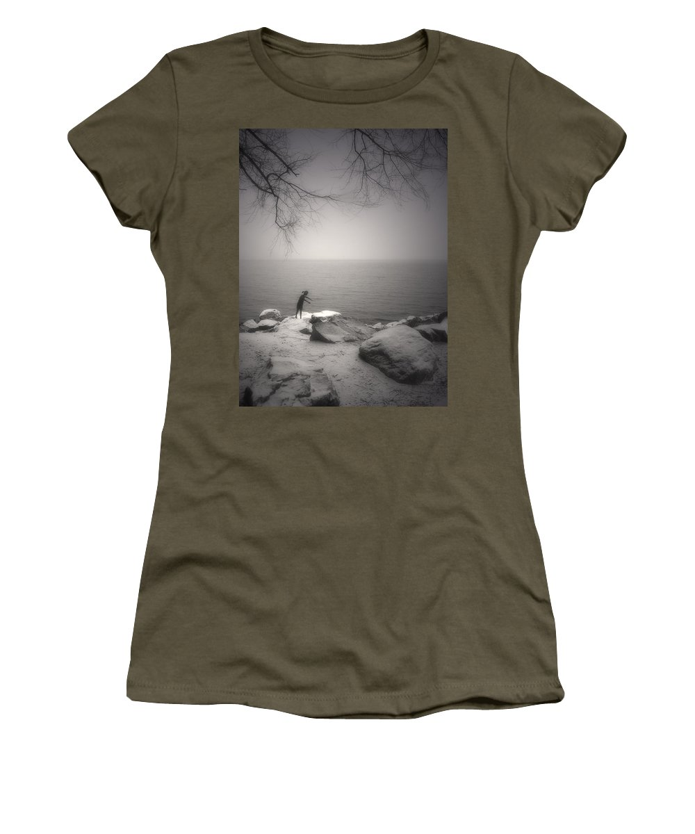 Statue Women's T-Shirt featuring the photograph The Snow Gatherer by Tara Turner