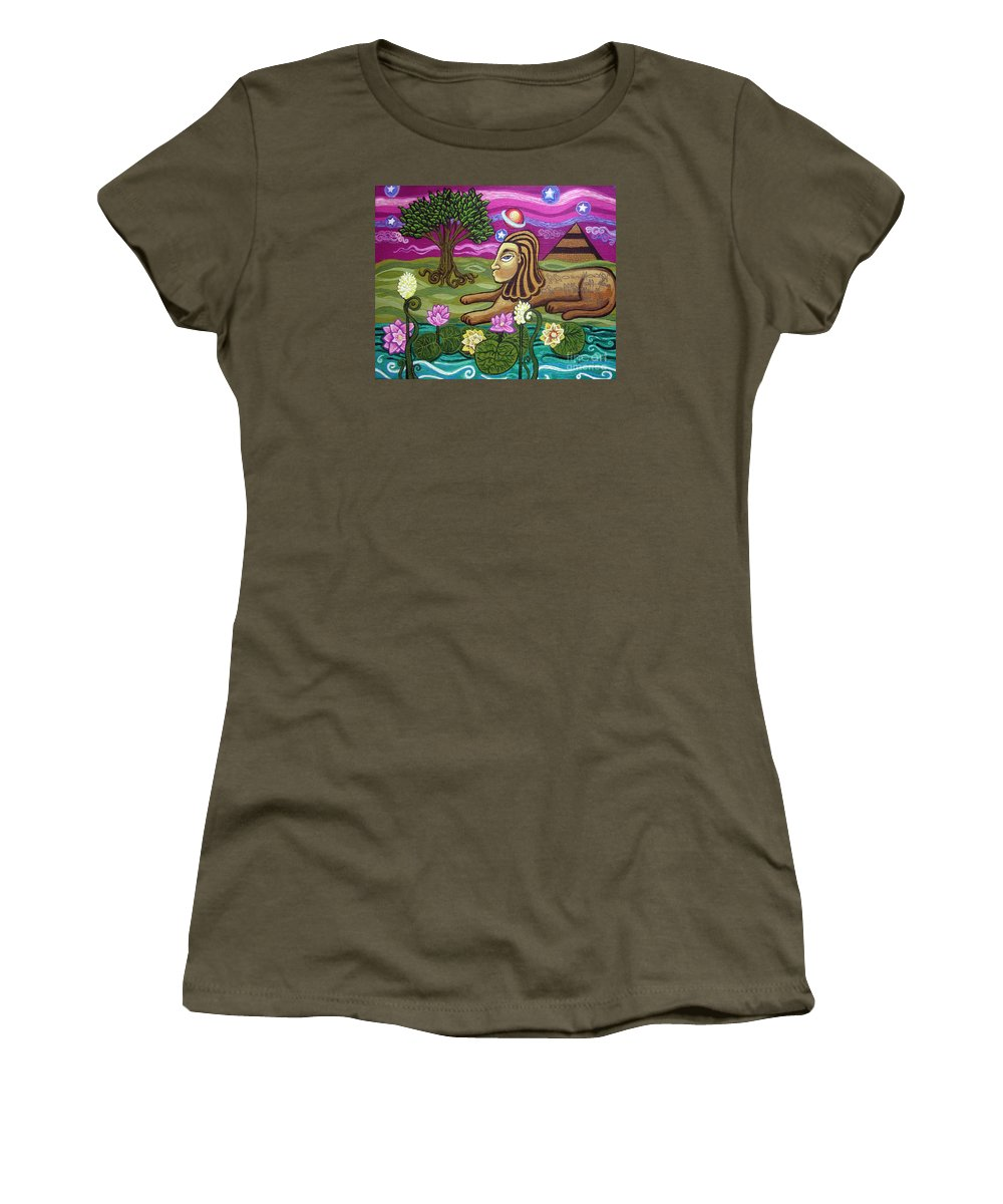 Egypt Women's T-Shirt (Athletic Fit) featuring the painting The Sphinx by Genevieve Esson