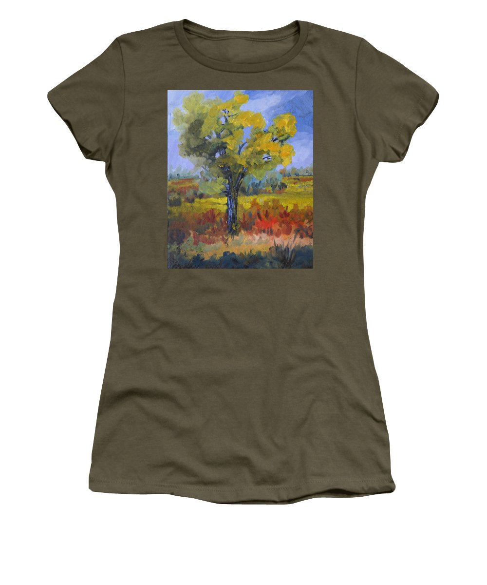 Spring Women's T-Shirt featuring the painting The Spring Tree by Heather Coen