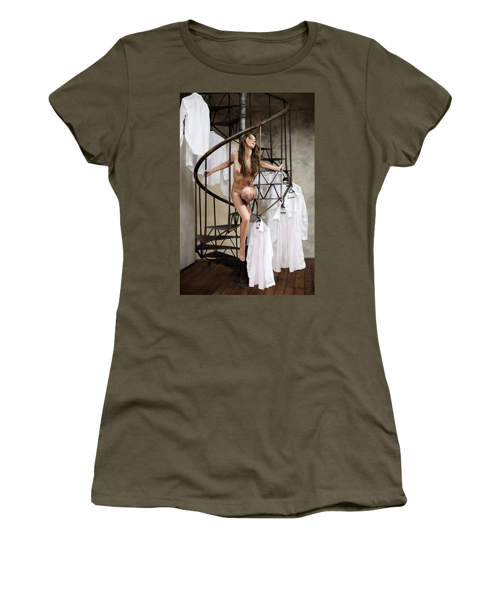 Sensual Women's T-Shirt featuring the photograph The Stairs by Olivier De Rycke
