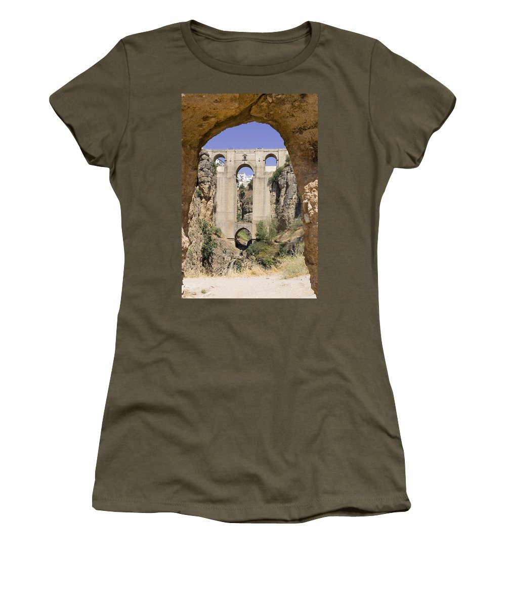 Ronda Women's T-Shirt featuring the photograph The Tajo De Ronda And Puente Nuevo Bridge Andalucia Spain Europe by Mal Bray