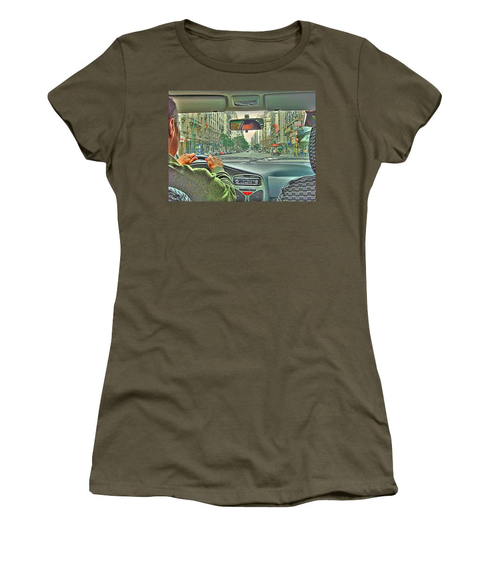 Taxi Women's T-Shirt (Athletic Fit) featuring the photograph the Taxi Driver by Francisco Colon