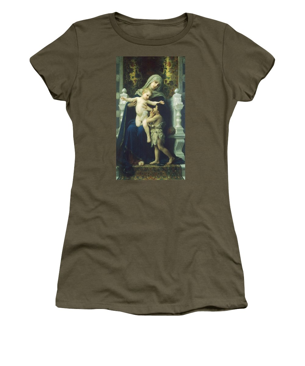 The Virgin Baby Jesus And Saint John The Baptist Women's T-Shirt featuring the digital art The Virgin Baby Jesus And Saint John The Baptist by William Bouguereau
