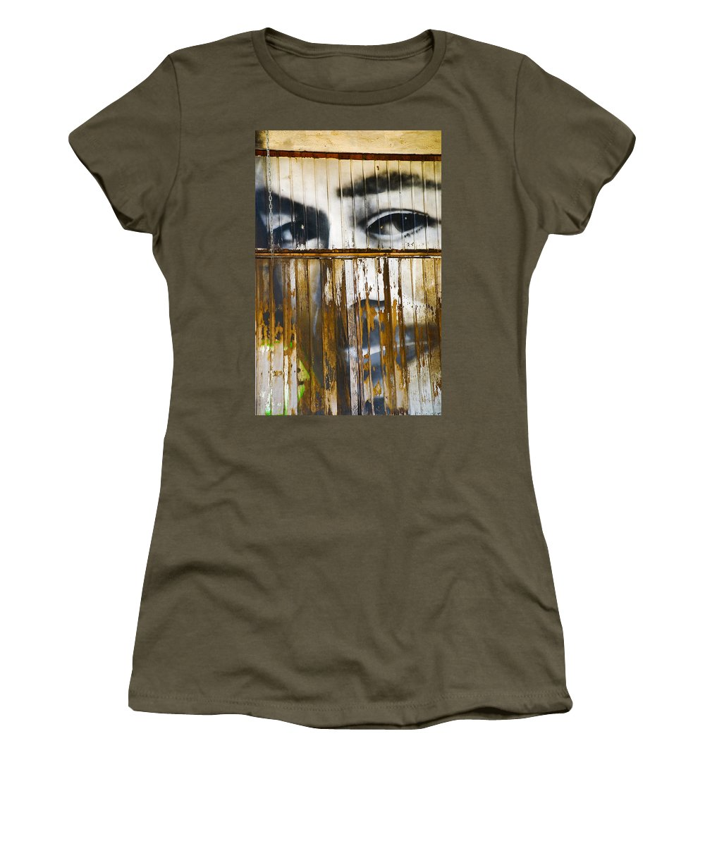 Escondido Women's T-Shirt (Athletic Fit) featuring the photograph The Walls Have Eyes by Skip Hunt