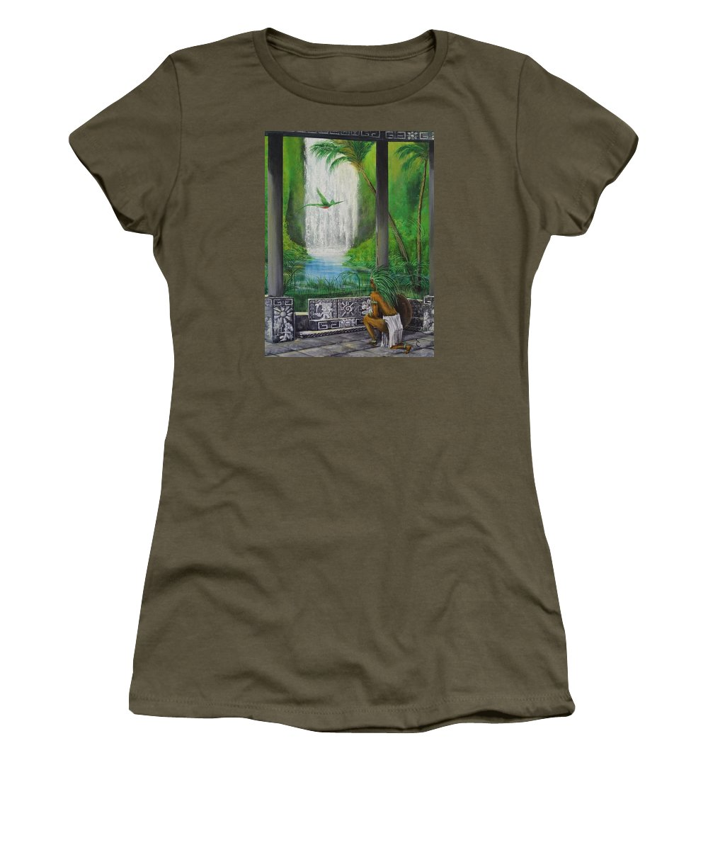 Land Women's T-Shirt featuring the painting The Warrior by Daniel Sanchez