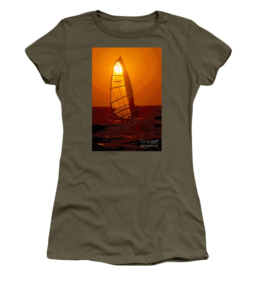 Windsurfing Women's T-Shirt (Athletic Fit) featuring the painting The Windsurfer by David Lee Thompson
