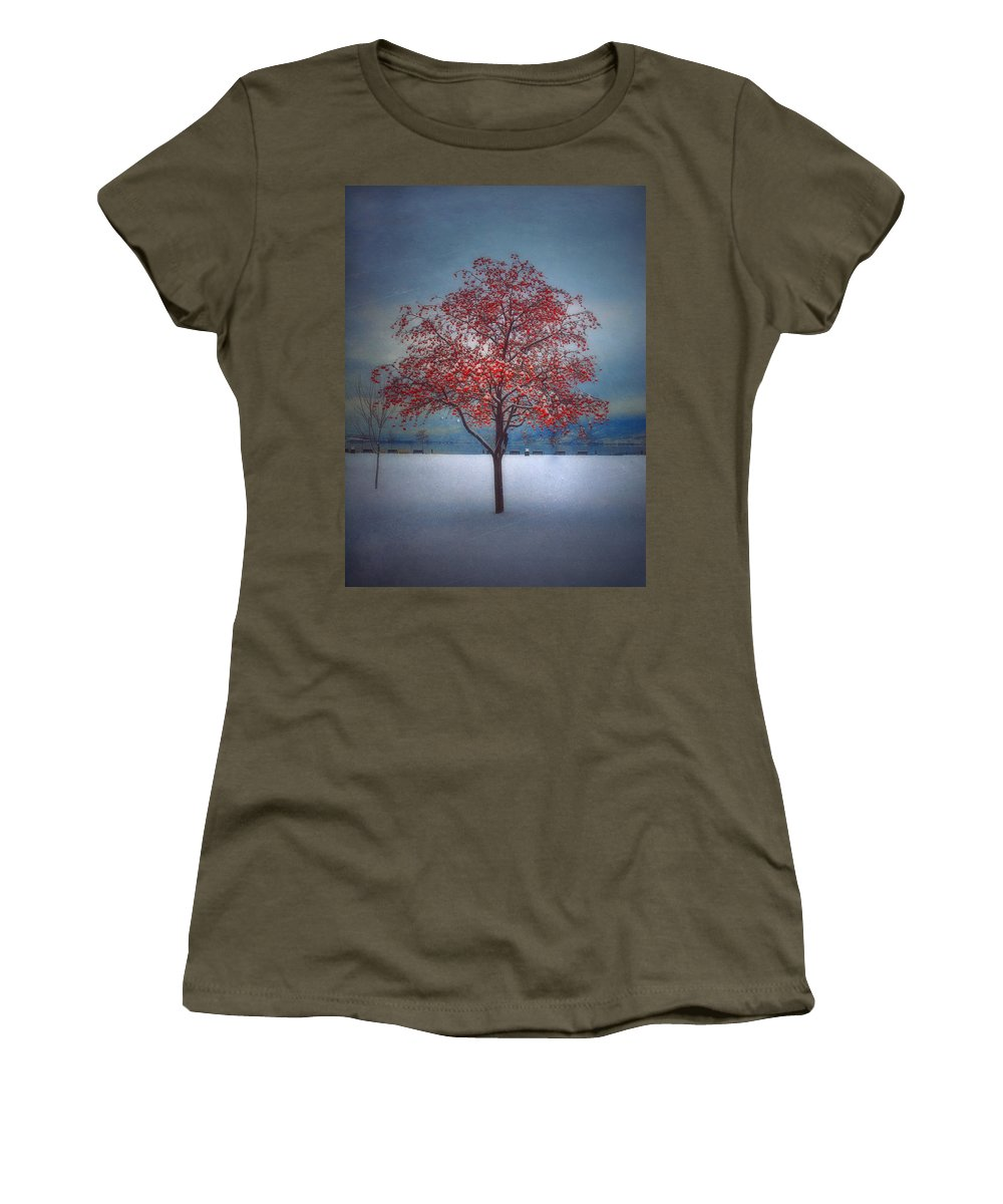 Tree Women's T-Shirt featuring the photograph The Winter Berries by Tara Turner