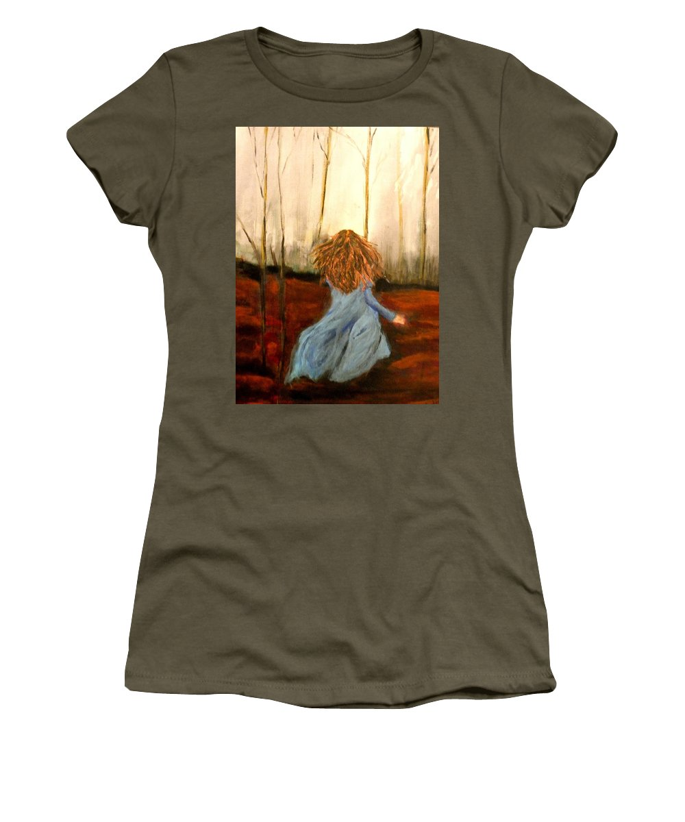 #woods Women's T-Shirt featuring the painting The Wood Nymph by Linda Waidelich