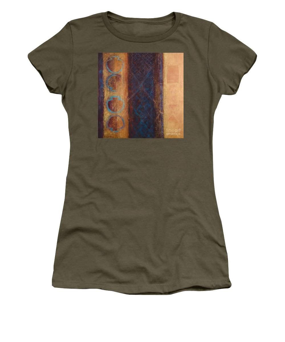Abstract Women's T-Shirt (Athletic Fit) featuring the painting The X Factor Alchemy Of Consciousness by Kerryn Madsen-Pietsch
