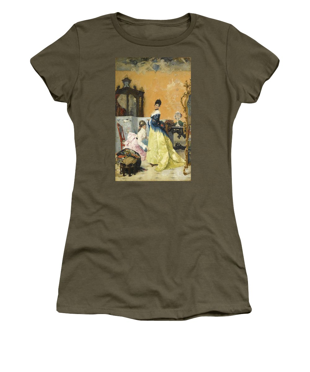 Vincente Capobianchi Women's T-Shirt (Athletic Fit) featuring the painting The Yellow Dress by Vincente Capobianchi