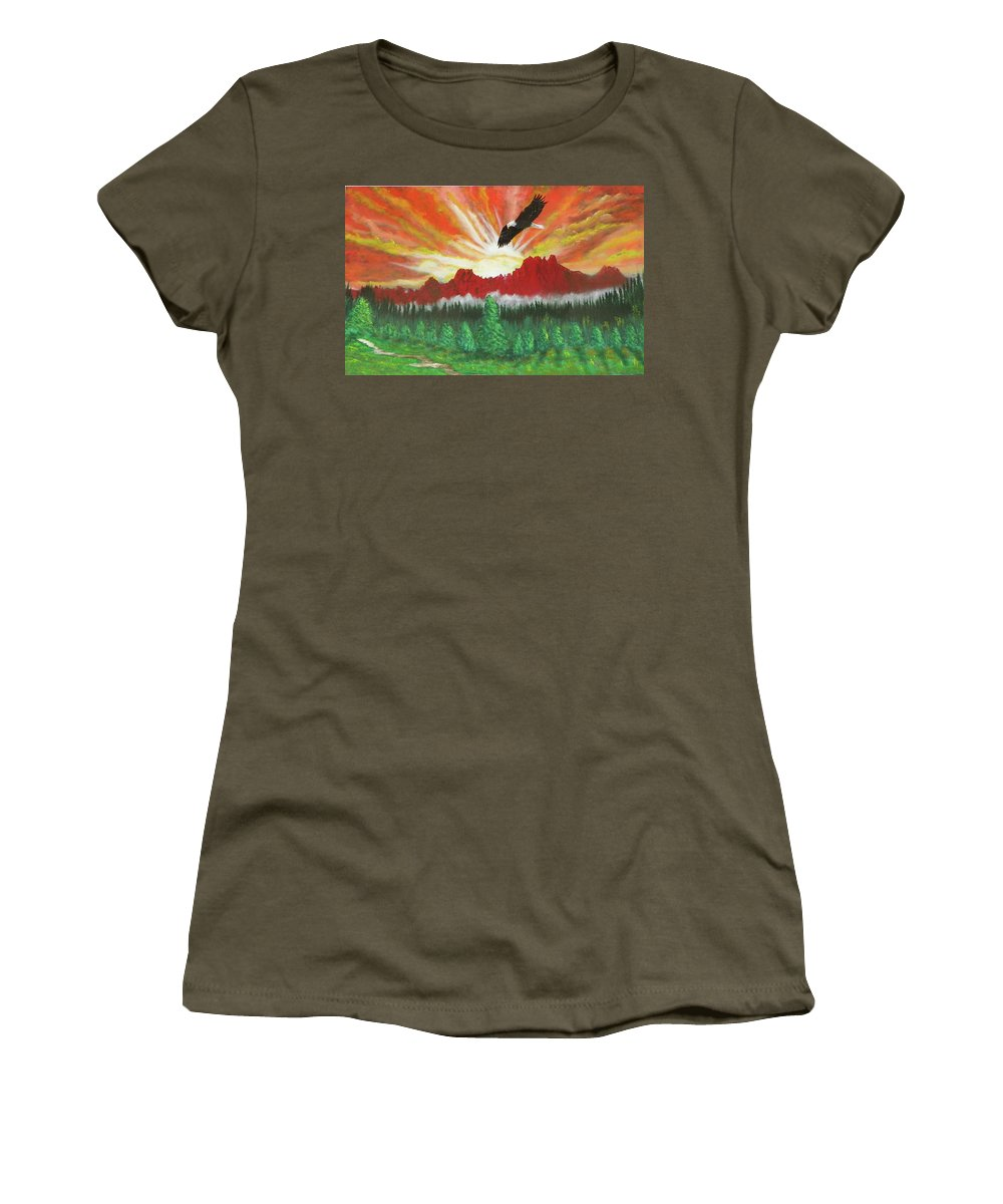 Acrylic Women's T-Shirt (Athletic Fit) featuring the painting They That Wait Upon The Lord  Isa 40 31 by Laurie Kidd