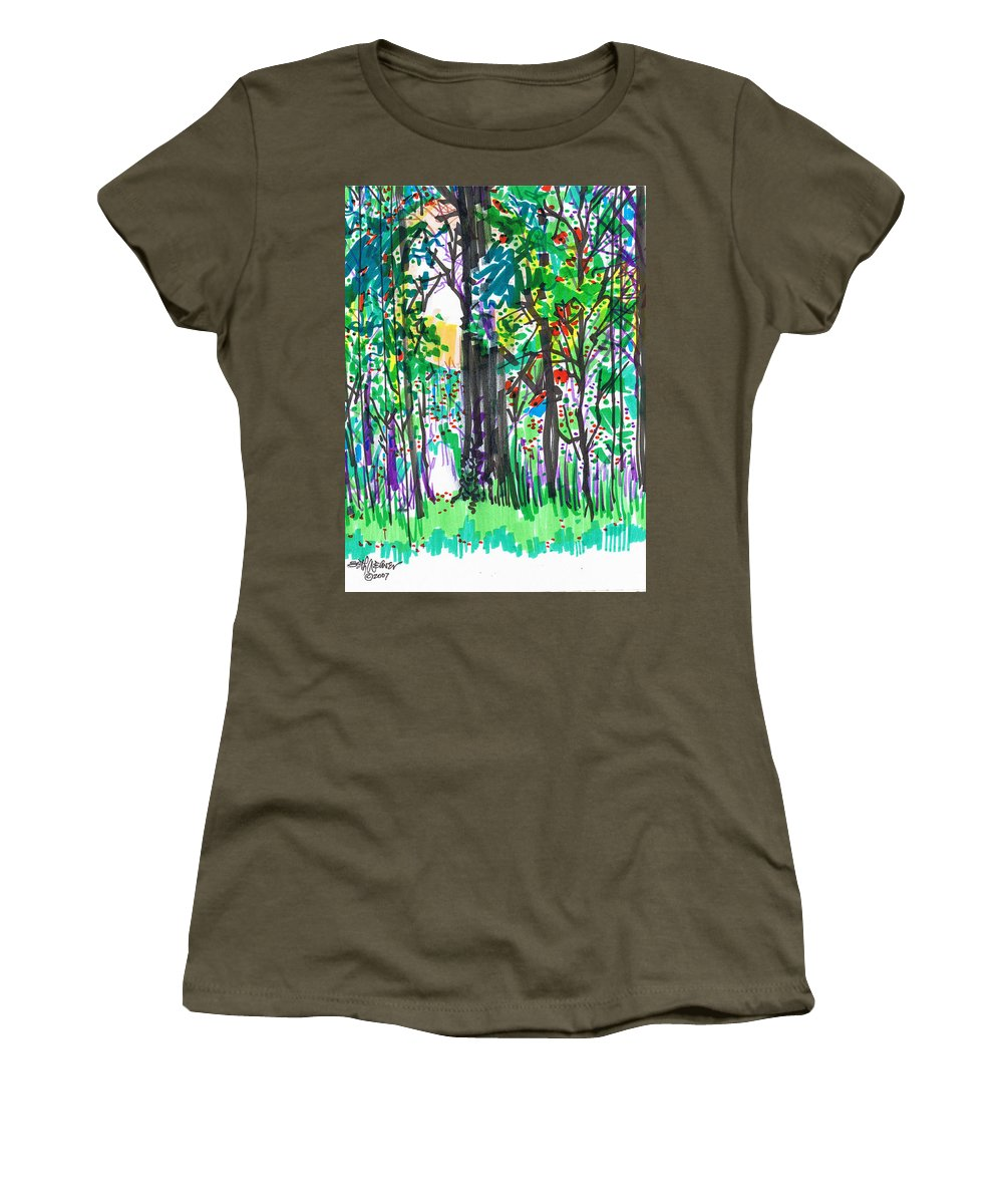Forest Women's T-Shirt (Athletic Fit) featuring the drawing Thicket by Seth Weaver