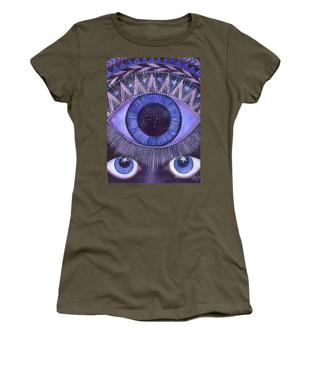 Thrid Eye Women's T-Shirt (Athletic Fit) featuring the painting Third Eye Chakra by Catherine G McElroy