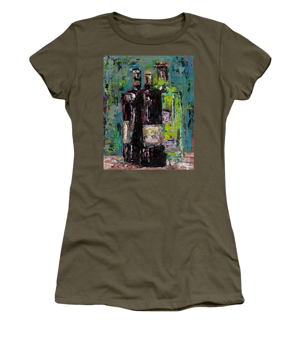 Wine Women's T-Shirt featuring the painting Three Bottles Of Wine by Frances Marino