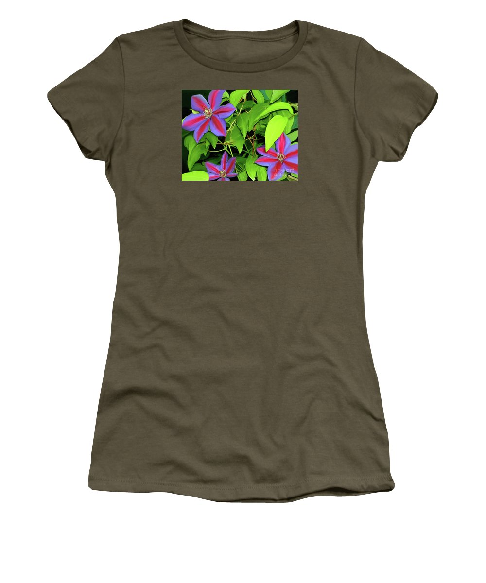 Mixed Media Art Women's T-Shirt (Athletic Fit) featuring the painting Three Jacks by Patricia Griffin Brett