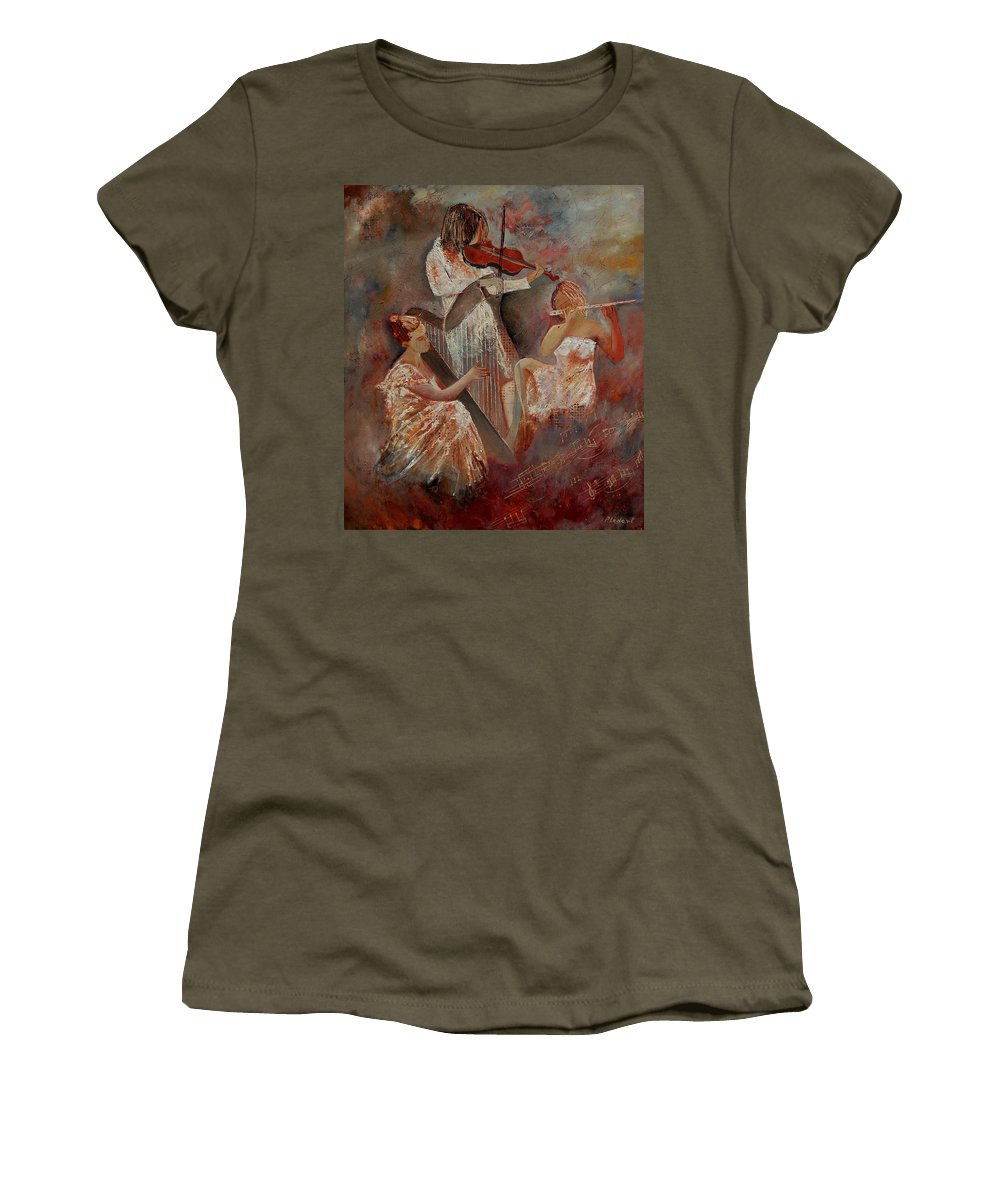 Music Women's T-Shirt (Athletic Fit) featuring the painting Three Musicians by Pol Ledent
