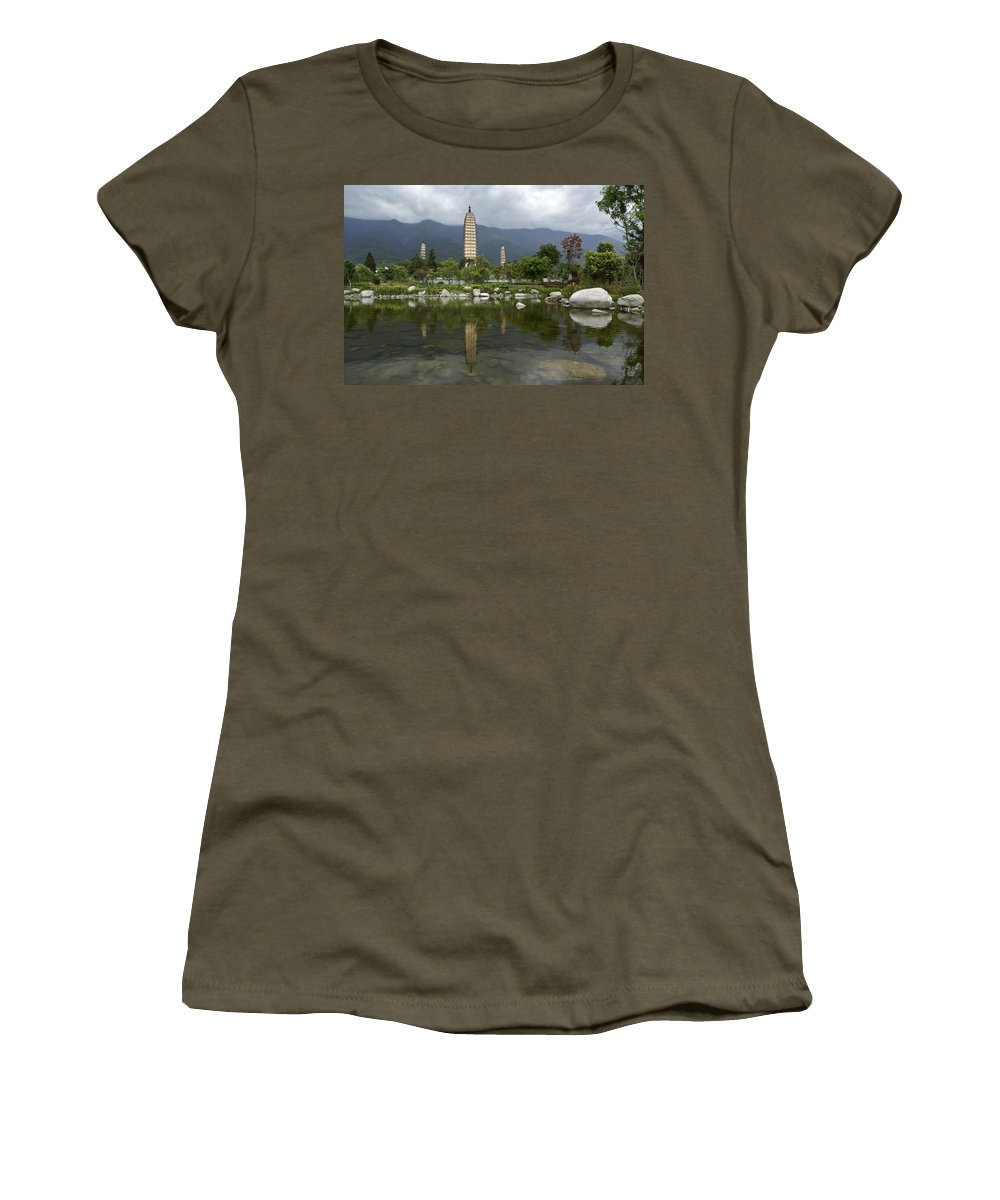 Asia Women's T-Shirt featuring the photograph Three Pagodas Of Dali by Michele Burgess