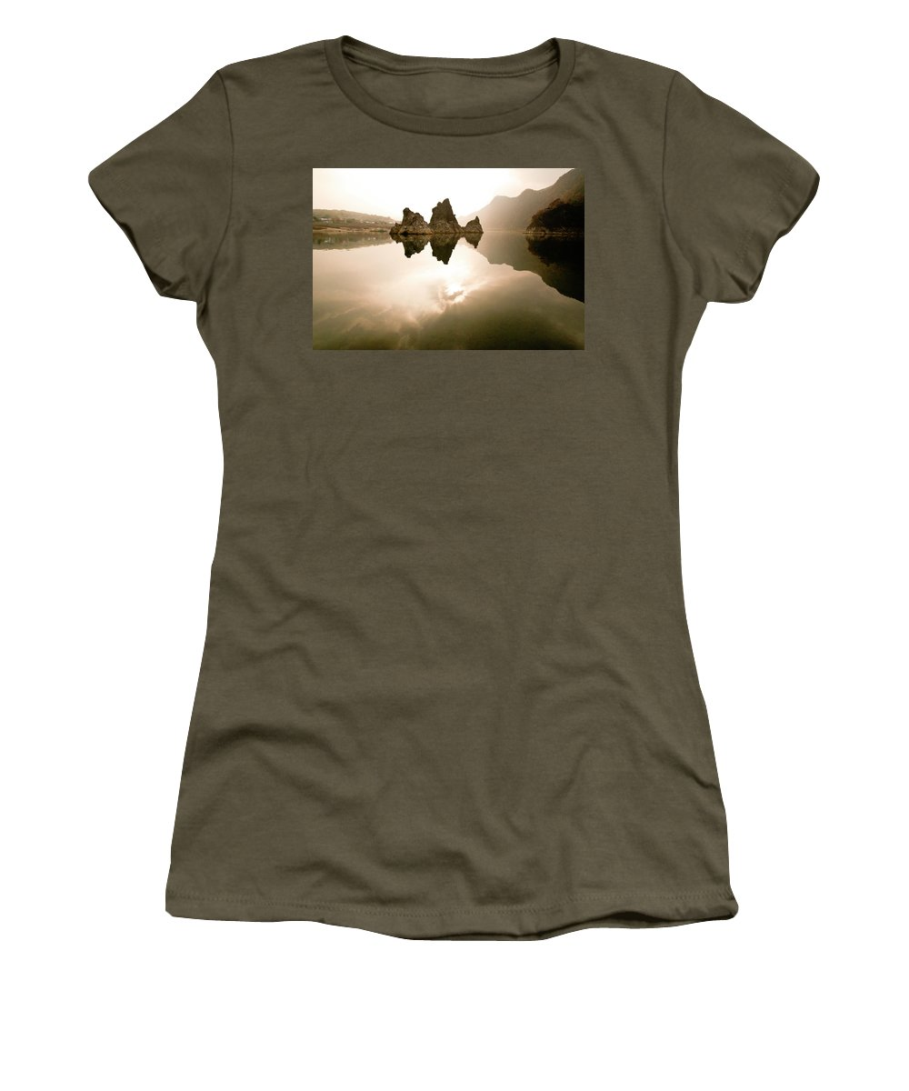 Asia Women's T-Shirt featuring the photograph Three Peaks by Michele Burgess