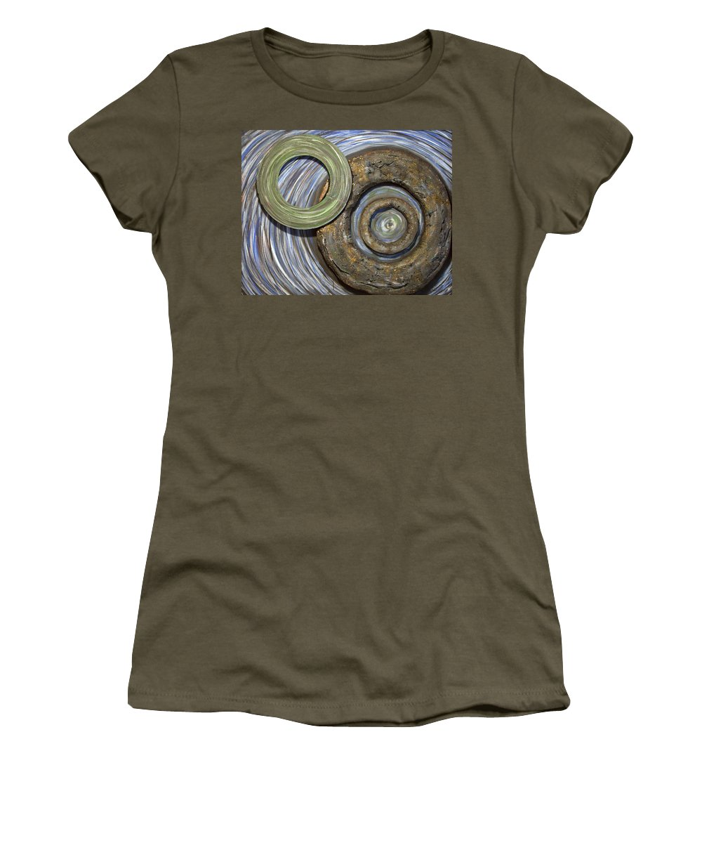 Circles Women's T-Shirt featuring the painting Threes A Crowd by Jacqueline Athmann