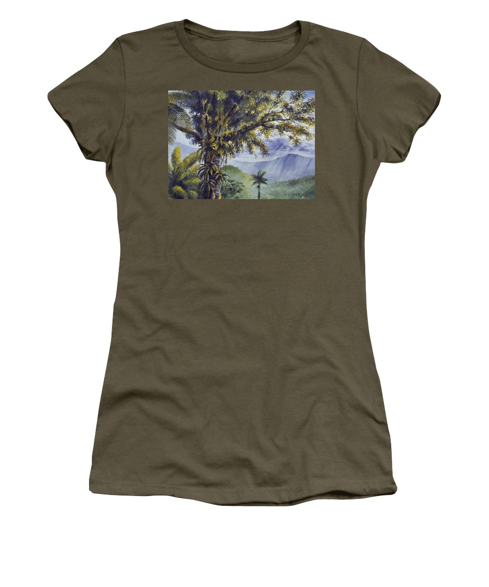Chris Cox Women's T-Shirt (Athletic Fit) featuring the painting Through The Canopy by Christopher Cox