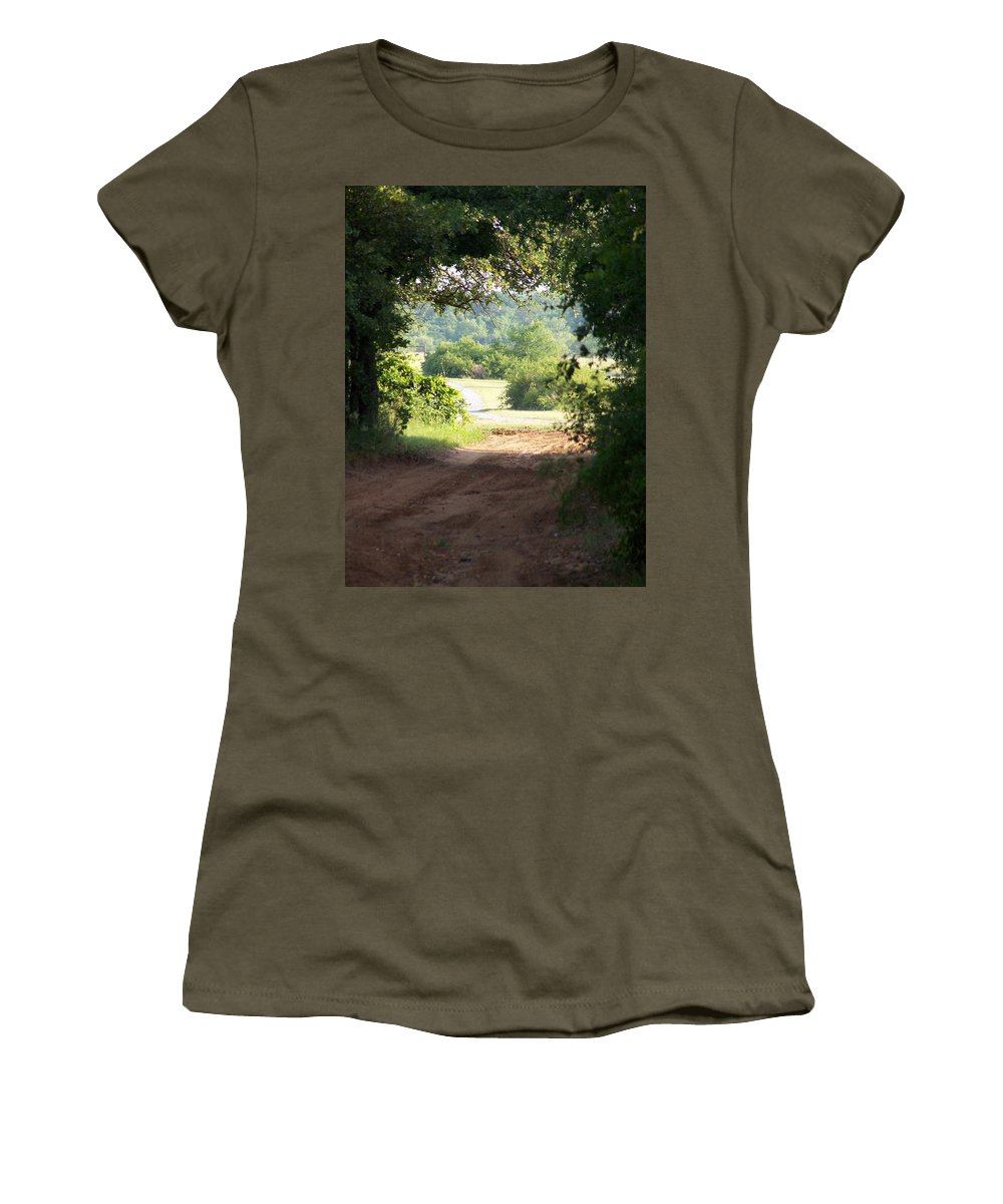 Woods Women's T-Shirt (Athletic Fit) featuring the photograph Through The Woods by Gale Cochran-Smith