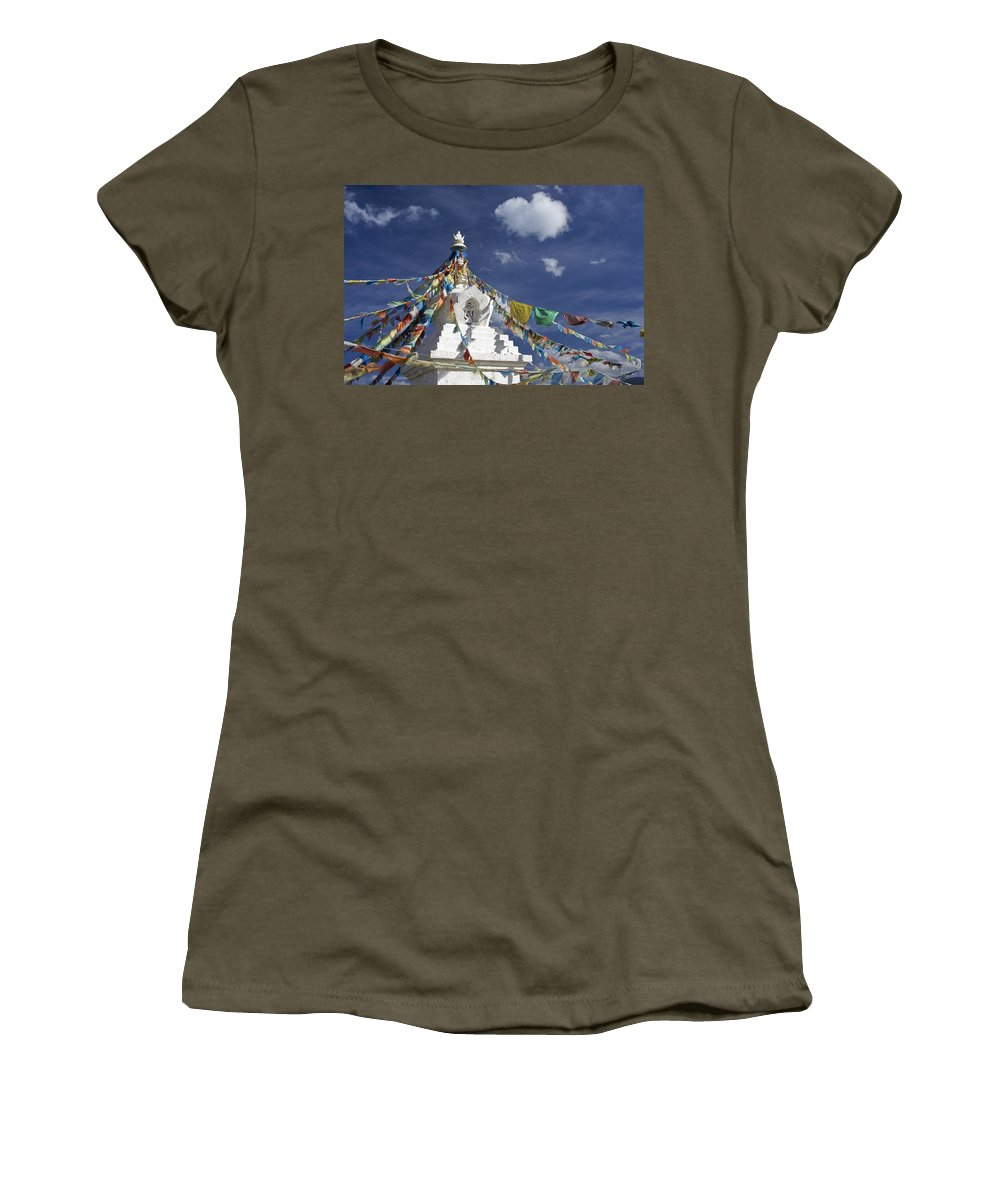Asia Women's T-Shirt featuring the photograph Tibetan Stupa With Prayer Flags by Michele Burgess