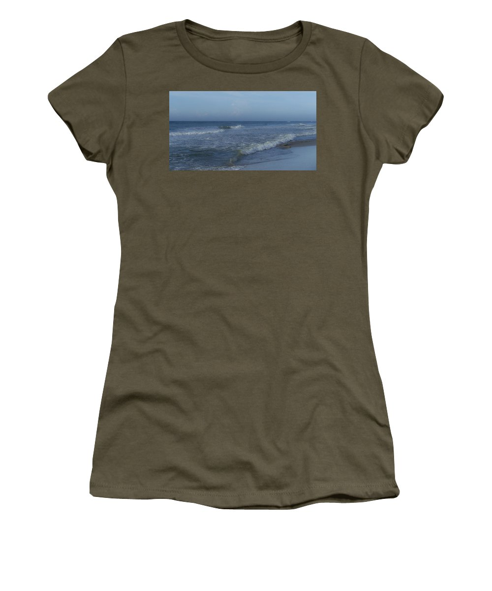 Tide Women's T-Shirt featuring the photograph Tide Rolling In Ocean Isle Beach North Carolina by Teresa Mucha