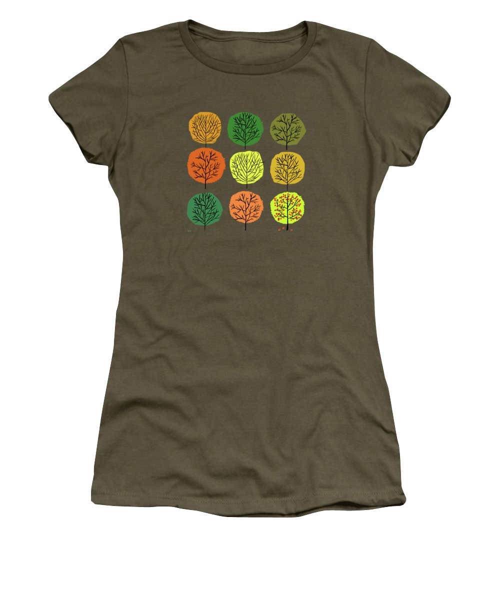 Trees Women's T-Shirt featuring the painting Tidy Trees All In Pretty Rows by Little Bunny Sunshine