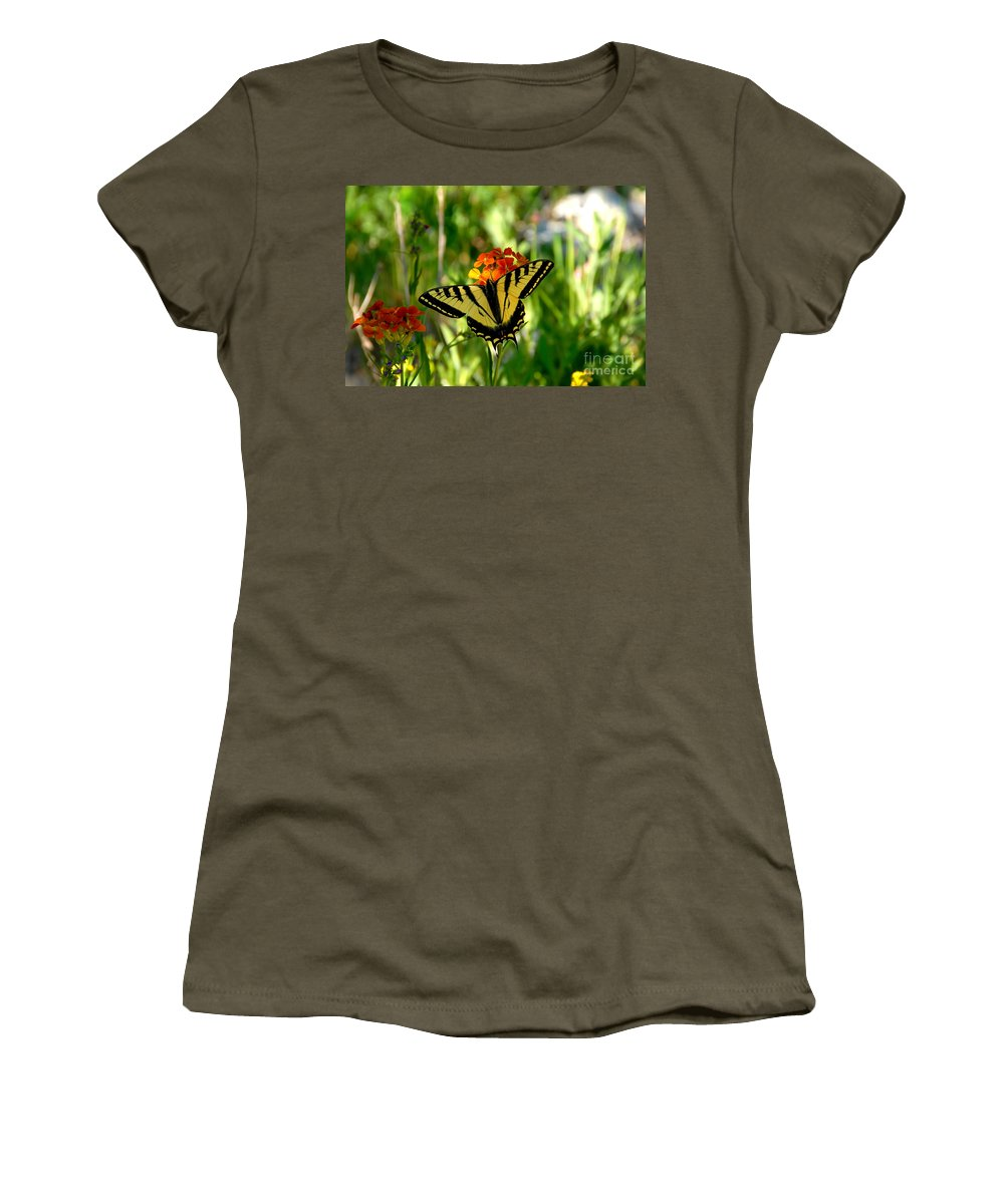 Tiger Tail Butterfly Women's T-Shirt (Athletic Fit) featuring the photograph Tiger Tail Beauty by David Lee Thompson