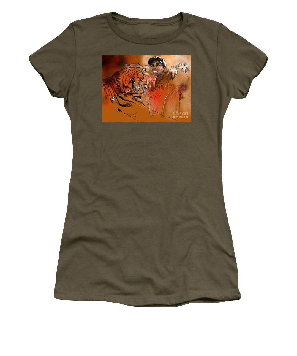 Golf Art Painting Portrait Tiger Woods Aninla Tiger Women's T-Shirt featuring the painting Tiger Woods Or Earn Your Stripes by Miki De Goodaboom