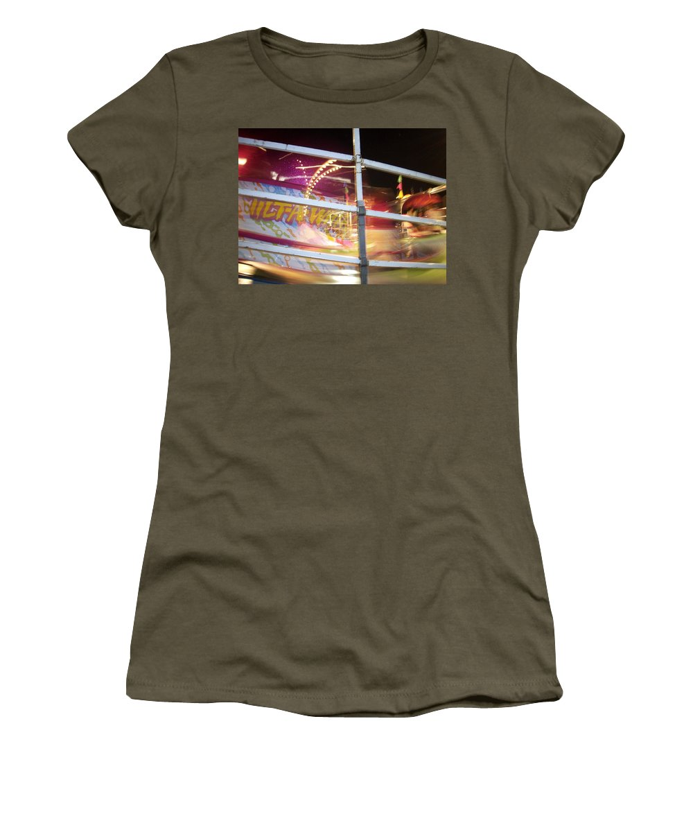 State Fair Women's T-Shirt featuring the photograph Tilt-a-whirl 1 by Anita Burgermeister