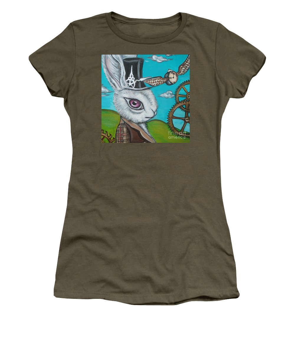 Alice In Wonderland Women's T-Shirt (Athletic Fit) featuring the painting Time Flies For The White Rabbit by Jaz Higgins