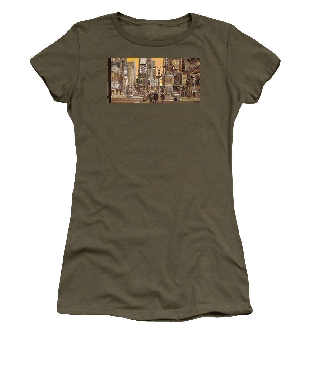 New York Women's T-Shirt featuring the painting Times Square by Guido Borelli
